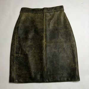 Vintage Guevara Brown Sheepskin Leather Skirt